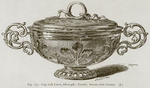 Cup with Cover, Silver-Gilt; French; Seventeenth Century. Illustration for Historic Ornament by James Ward (Chapman and Hall, 1897).