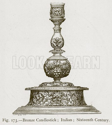 Bronze Candlestick; Italian; Sixteenth Century. Illustration for Historic Ornament by James Ward (Chapman and Hall, 1897).