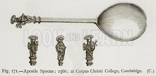 Apostle Spoons; 1566; at Corpus Christi College, Cambridge. Illustration for Historic Ornament by James Ward (Chapman and Hall, 1897).