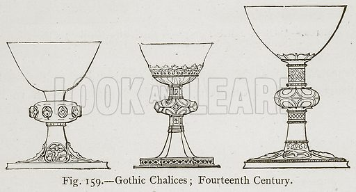 Gothic Chalices; Fourteenth Century. Illustration for Historic Ornament by James Ward (Chapman and Hall, 1897).