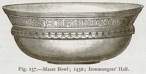 Mazer Bowl; 1450; Ironmongers' Hall. Illustration for Historic Ornament by James Ward (Chapman and Hall, 1897).