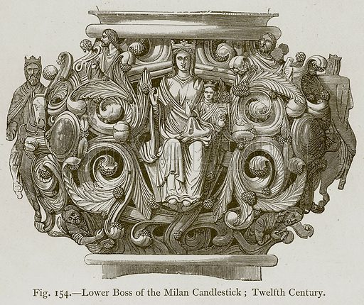 Lower Boss of the Milan Candlestick; Twelfth Century. Illustration for Historic Ornament by James Ward (Chapman and Hall, 1897).