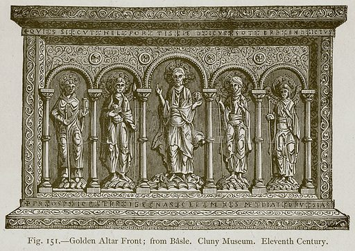 Golden Altar Front; from Basle. Cluny Museum. Eleventh Century. Illustration for Historic Ornament by James Ward (Chapman and Hall, 1897).
