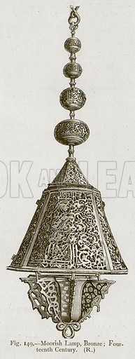 Moorish Lamp, Bronze; Fourteenth Century. Illustration for Historic Ornament by James Ward (Chapman and Hall, 1897).