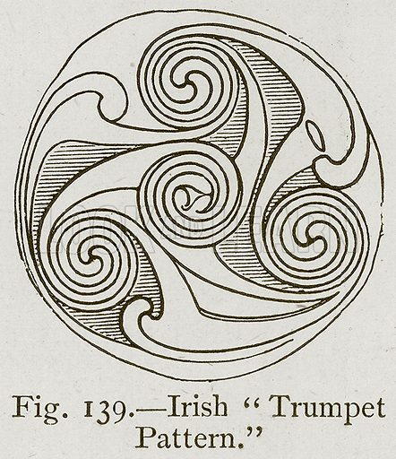 "Irish ""Trumpet Pattern."" Illustration for Historic Ornament by James Ward (Chapman and Hall, 1897)."