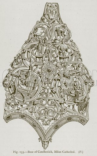 Base of Candlestick, Milan Cathedral. Illustration for Historic Ornament by James Ward (Chapman and Hall, 1897).