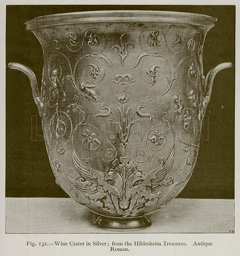 Wine Crater in Silver; from the Hildesheim Treasures. Antique Roman. Illustration for Historic Ornament by James Ward (Chapman and Hall, 1897).