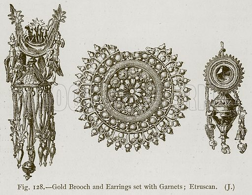 Gold Brooch and Earrings set with Garnets; Etruscan. Illustration for Historic Ornament by James Ward (Chapman and Hall, 1897).