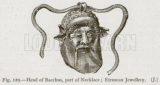 Head of Bacchus, Part of Necklace; Etruscan Jewellery. Illustration for Historic Ornament by James Ward (Chapman and Hall, 1897).
