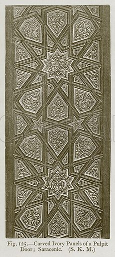Carved Ivory Panels of a Pulpit Door; Saracenic. Illustration for Historic Ornament by James Ward (Chapman and Hall, 1897).