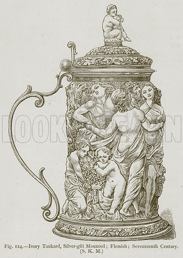 Ivory Tankard, Silver-Gilt Mounted; Flemish; Seventeenth Century. Illustration for Historic Ornament by James Ward (Chapman and Hall, 1897).