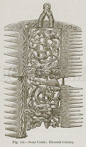Ivory Comb; Eleventh Century. Illustration for Historic Ornament by James Ward (Chapman and Hall, 1897).