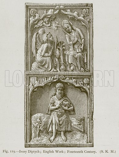 Ivory Diptych; English Work; Fourteenth Century. Illustration for Historic Ornament by James Ward (Chapman and Hall, 1897).