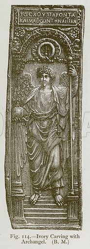Ivory Carving with Archangel. Illustration for Historic Ornament by James Ward (Chapman and Hall, 1897).