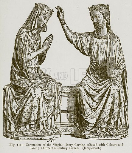 Coronation of the Virgin; Ivory Carving relieved with Colours and Gold; Thirteenth-Century French. (Jacquemart.) Illustration for Historic Ornament by James Ward (Chapman and Hall, 1897).