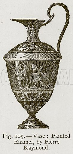 Vase; Painted Enamel, by Pierre Raymond. Illustration for Historic Ornament by James Ward (Chapman and Hall, 1897).
