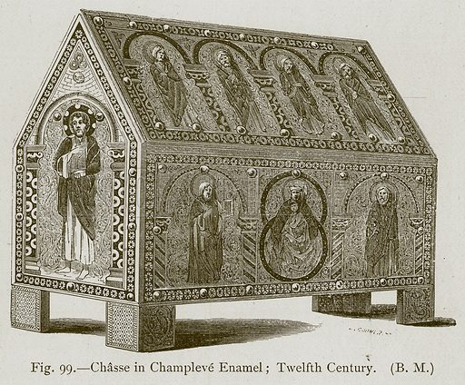 Chasse in Champleve Enamel; Twelfth Century. Illustration for Historic Ornament by James Ward (Chapman and Hall, 1897).