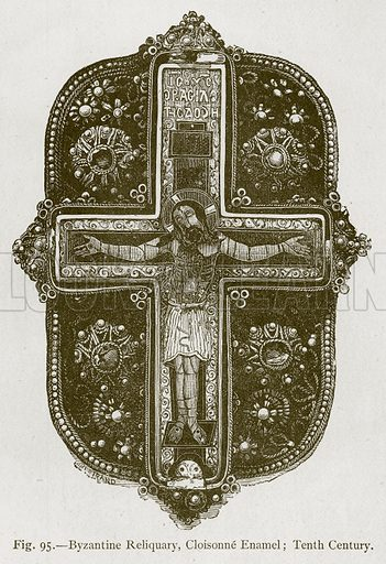 Byzantine Reliquary, Cloisonne Enamel; Tenth Century. Illustration for Historic Ornament by James Ward (Chapman and Hall, 1897).