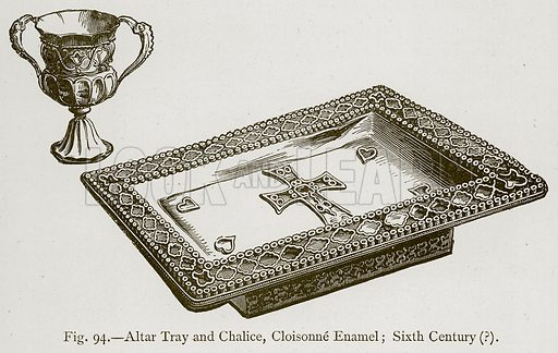 Altar Tray and Chalice, Cloisonne Enamel; Sixth Century. Illustration for Historic Ornament by James Ward (Chapman and Hall, 1897).