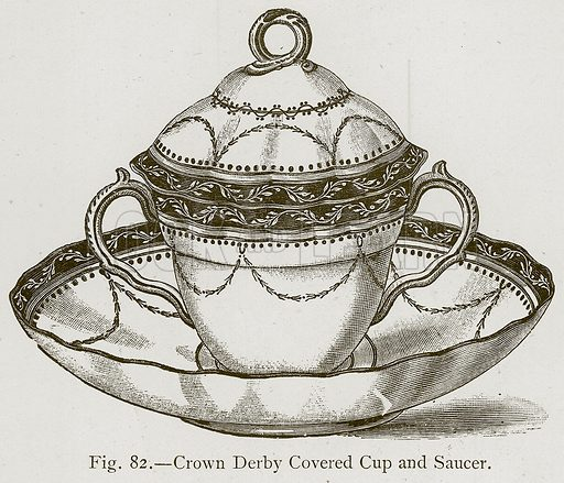 Crown Derby Covered Cup and Saucer. Illustration for Historic Ornament by James Ward (Chapman and Hall, 1897).