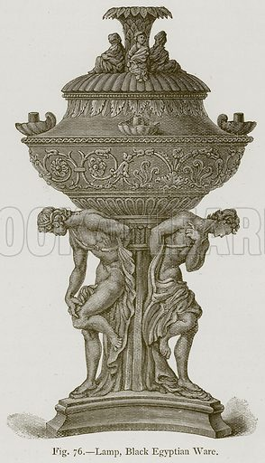Lamp, Black Egyptian Ware. Illustration for Historic Ornament by James Ward (Chapman and Hall, 1897).