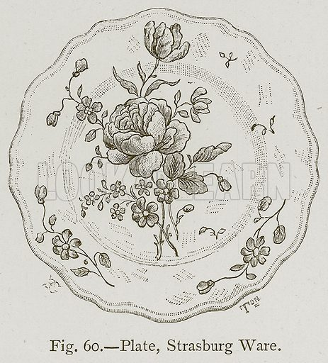 Plate, Strasburg Ware. Illustration for Historic Ornament by James Ward (Chapman and Hall, 1897).