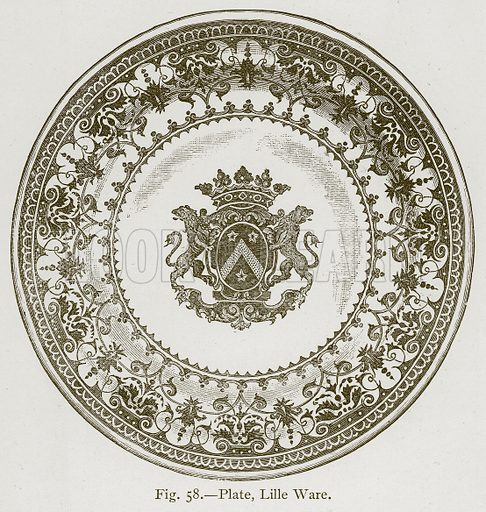 Plate, Lille Ware. Illustration for Historic Ornament by James Ward (Chapman and Hall, 1897).
