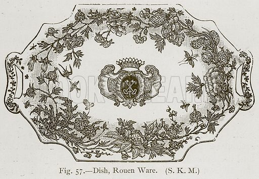 Dish, Rouen Ware. Illustration for Historic Ornament by James Ward (Chapman and Hall, 1897).