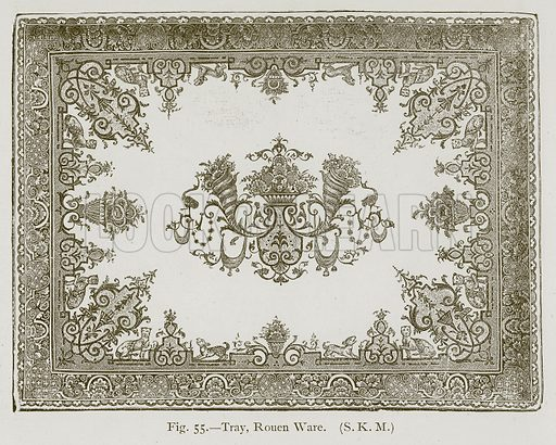 Tray, Rouen Ware. Illustration for Historic Ornament by James Ward (Chapman and Hall, 1897).