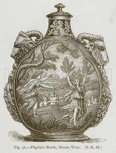 Pilgrim's Bottle, Nevers Ware. Illustration for Historic Ornament by James Ward (Chapman and Hall, 1897).