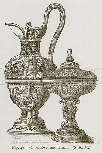 Oiron Ewer and Tazza. Illustration for Historic Ornament by James Ward (Chapman and Hall, 1897).