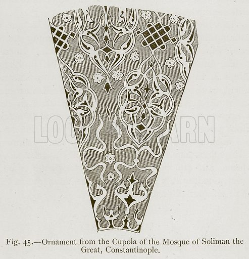 Ornament from the Cupola of the Mosque of Soliman the Great, Constatinople. Illustration for Historic Ornament by James Ward (Chapman and Hall, 1897).
