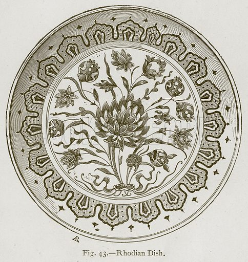 Rhodian Dish. Illustration for Historic Ornament by James Ward (Chapman and Hall, 1897).