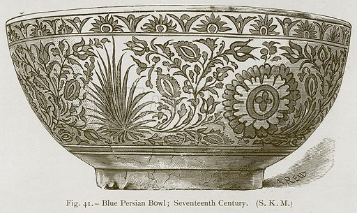 Blue Persian Bowl; Seventeenth Century. Illustration for Historic Ornament by James Ward (Chapman and Hall, 1897).