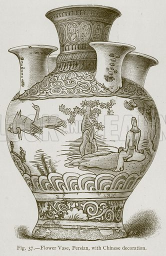 Flower Vase, Persian, with Chinese Decoration. Illustration for Historic Ornament by James Ward (Chapman and Hall, 1897).