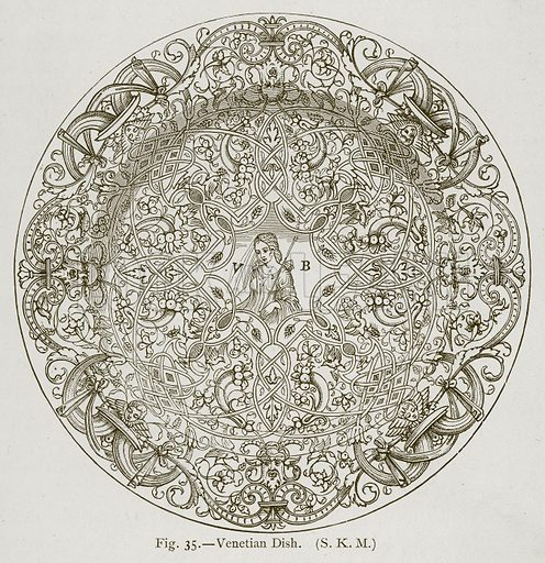 Venetian Dish. Illustration for Historic Ornament by James Ward (Chapman and Hall, 1897).