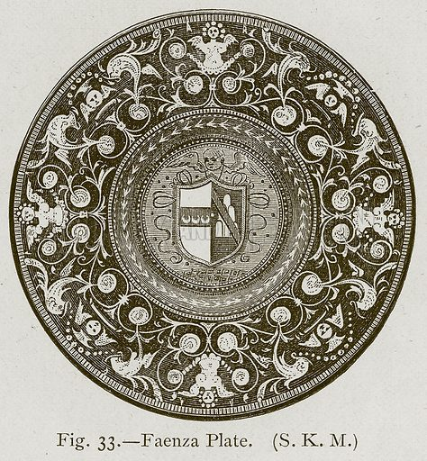 Faenza Plate. Illustration for Historic Ornament by James Ward (Chapman and Hall, 1897).