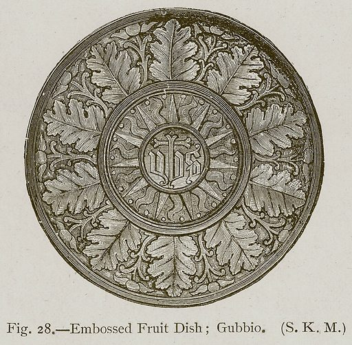 Embossed Fruit Dish; Gubbio. Illustration for Historic Ornament by James Ward (Chapman and Hall, 1897).