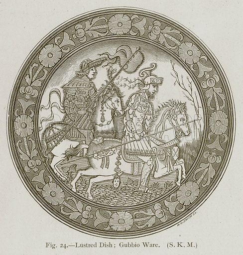 Lustred Dish; Gubbio Ware. Illustration for Historic Ornament by James Ward (Chapman and Hall, 1897).