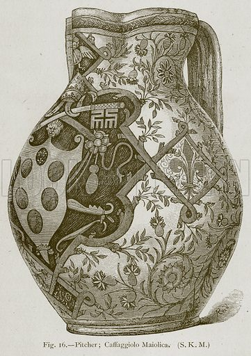 Pitcher; Caffaggiolo Maiolica. Illustration for Historic Ornament by James Ward (Chapman and Hall, 1897).