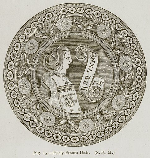 Early Pesaro Dish. Illustration for Historic Ornament by James Ward (Chapman and Hall, 1897).