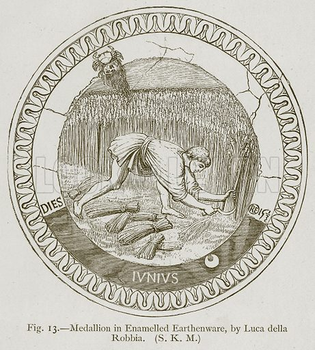 Medallion in Enamelled Earthenware, by Luca della Robbia. Illustration for Historic Ornament by James Ward (Chapman and Hall, 1897).