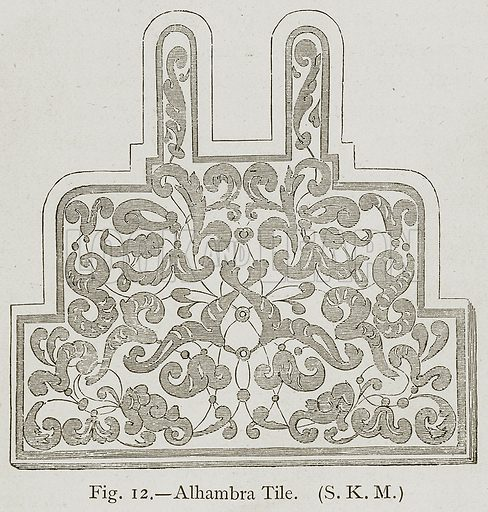 Alhambra Tile. Illustration for Historic Ornament by James Ward (Chapman and Hall, 1897).
