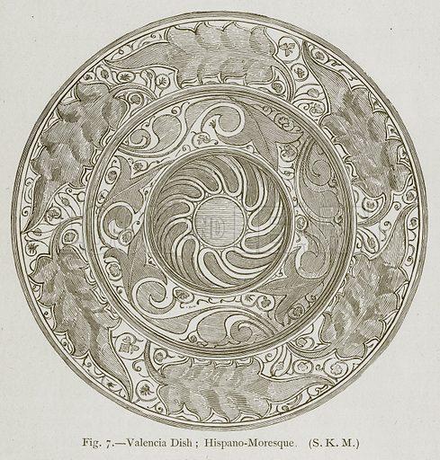 Valencia Dish; Hispano-Moresque. Illustration for Historic Ornament by James Ward (Chapman and Hall, 1897).