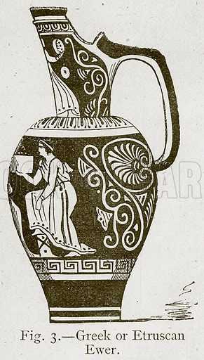 Greek or Etruscan Ewer. Illustration for Historic Ornament by James Ward (Chapman and Hall, 1897).