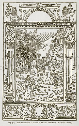 """Illustration from Woodcut of Dante's """"Inferno;"""" Fifteenth Century. Illustration for Historic Ornament by James Ward (Chapman and Hall, 1897)."""