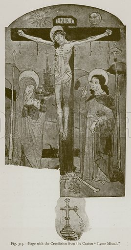 """Page from the Crucifixion from the Caxton """"Lyme Missal."""" Illustration for Historic Ornament by James Ward (Chapman and Hall, 1897)."""