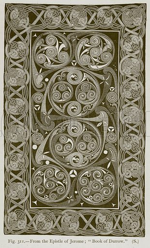 """From the Epistle of Jerome; """"Book of Durrow."""" Illustration for Historic Ornament by James Ward (Chapman and Hall, 1897)."""