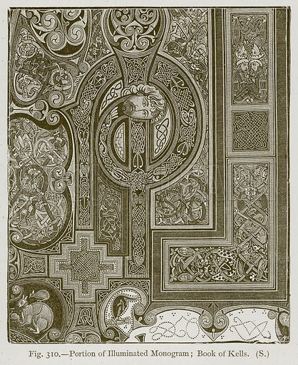 Portion of Illuminated Monogram; Book of Kells. Illustration for Historic Ornament by James Ward (Chapman and Hall, 1897).