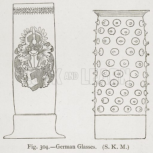 German Glasses. Illustration for Historic Ornament by James Ward (Chapman and Hall, 1897).